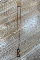 Jewelry Long Bronze Teal Rectangle Necklace