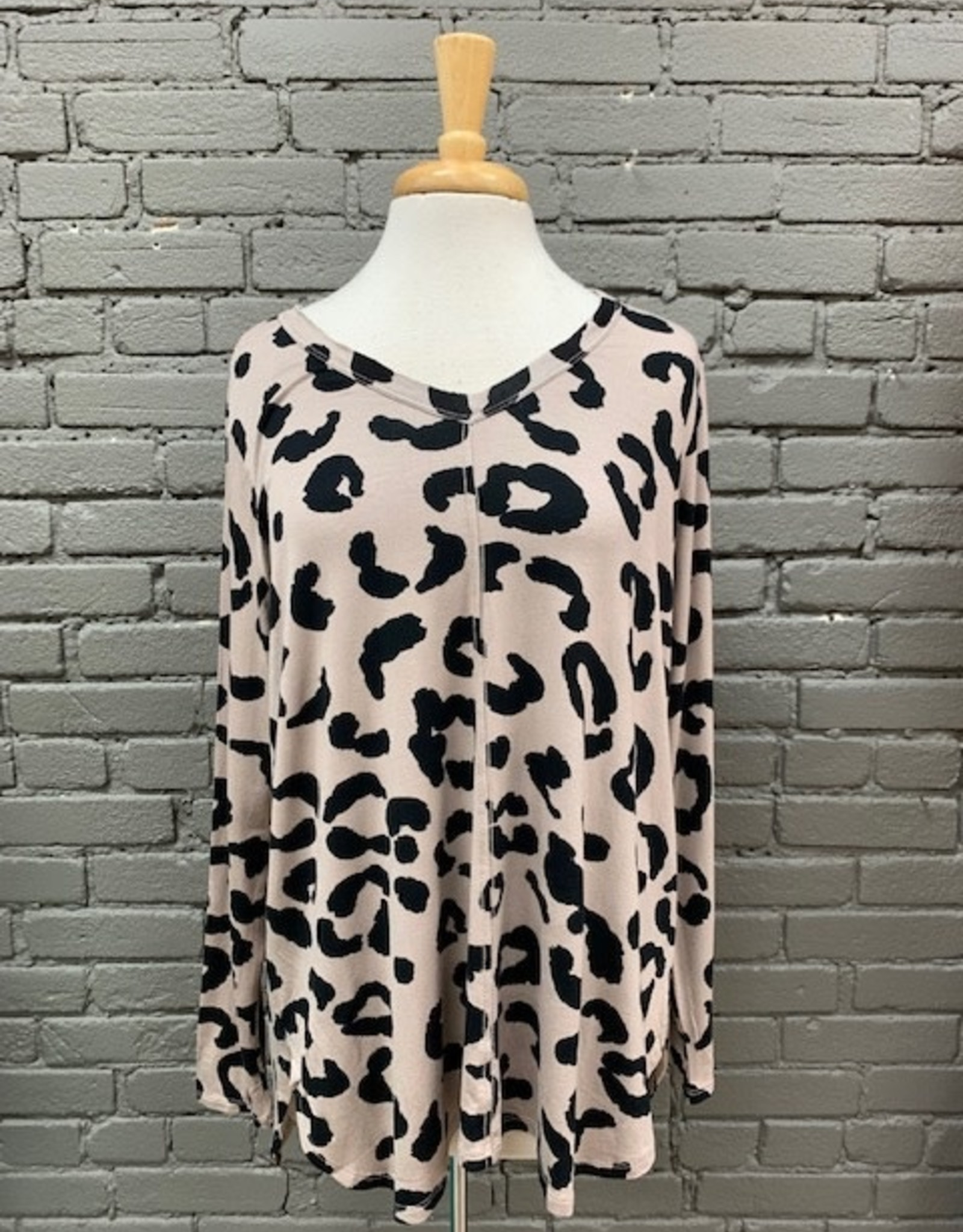Long Sleeve Teddy T-Shirt Tan Leopard