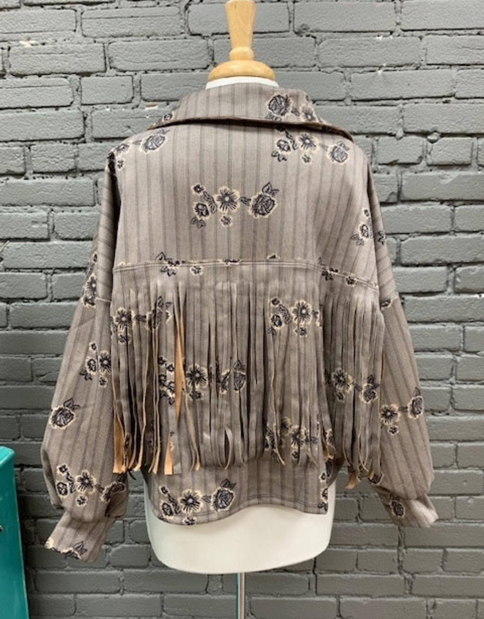 Jacket Kimberly Floral Fringe Shacket