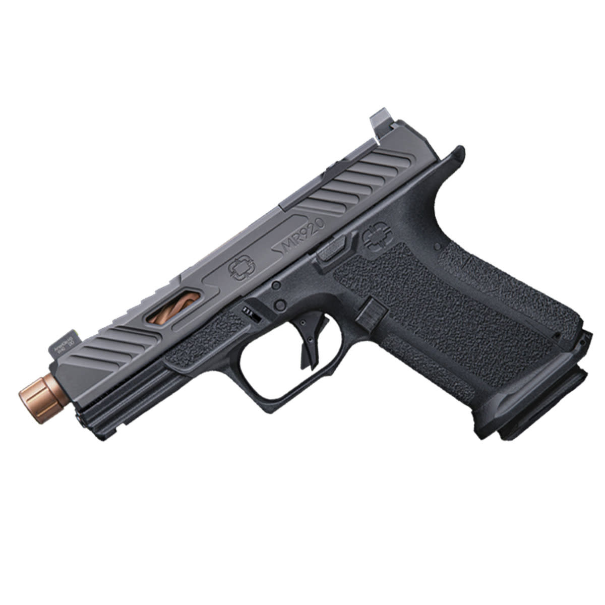 Shadow Systems MR290 Elite, 9mm, Black Frame, DLC slide with optics cut, Spiral Threaded Barrel Bronze, SS Rod, Green Tritium Front Sight, w/ Glock 19 magwell