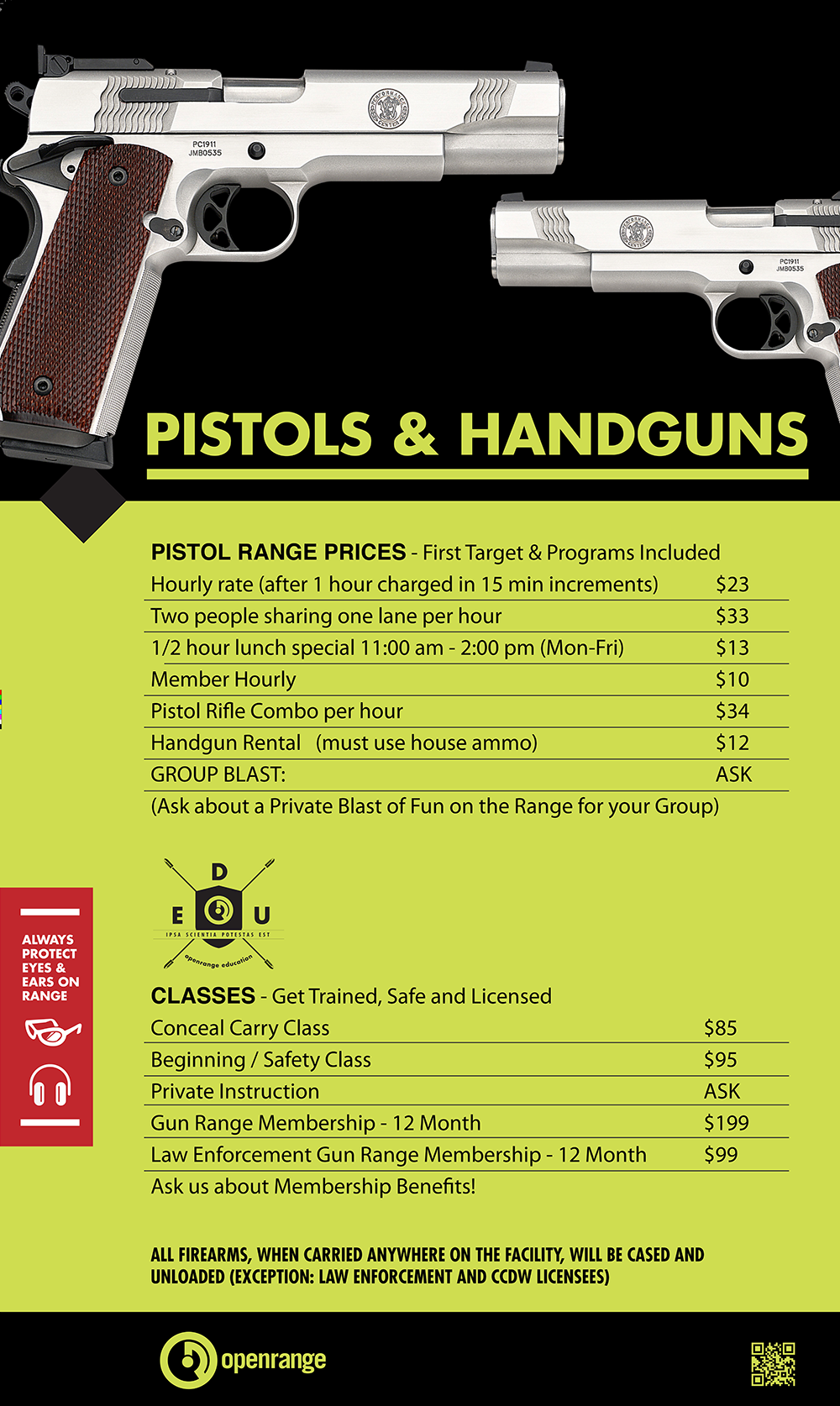 Pistol Range Hours and Rates at Openrange