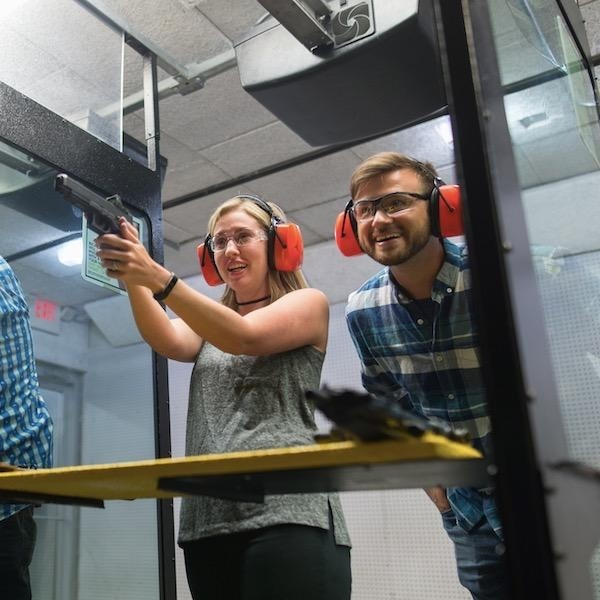 Date Night - Shoot A Pistol Package for 2 - includes range time, 1 rental pistol, and rental eye and ear protection.  Plus 10% off ammo