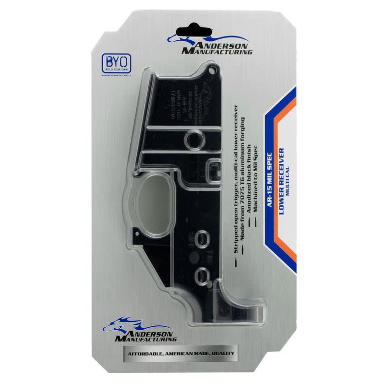 Anderson Manufacturing AR-15 Stripped Lower Receiver, Multi-Caliber, Mil-Spec, Aluminum, Matte Black