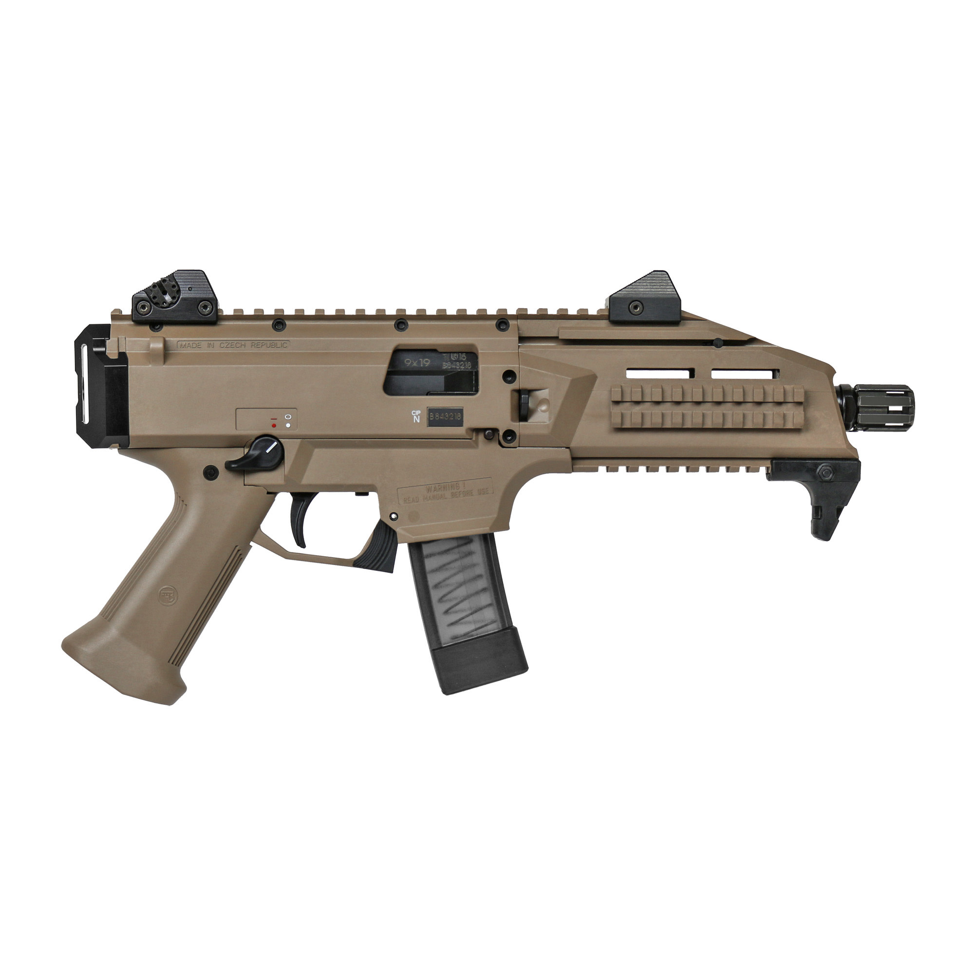 "CZ, Scorpion EVO 3 S1, 9MM, 7.7"" Threaded Barrel, 1/2X28 Thread Pitch, Polymer Frame, FDE Finish, 10 Rounds"