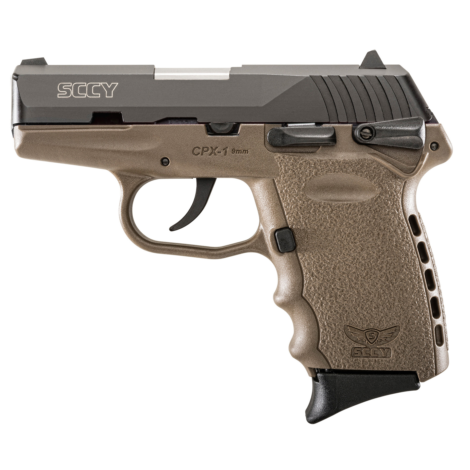 SCCY, CPX-1, Compact, 9MM, Black/FDE Finish, Ambidextrous Safety, 10Rd, 2Magazines