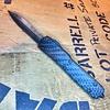 Microtech UTX-70, carbon fiber and black frame, blade - damascus, double edge