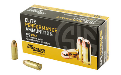 Ammo, Sig Sauer, Elite Performance Ball, 38 Super +P, 125 Grain, Full Metal Jacket, 50 Round Box