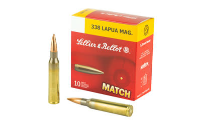 Ammo, Sellier & Bellot SB338LMB Rifle 338 Lapua Mag 300 gr Hollow Point Boat Tail (HPBT) 10 Bx