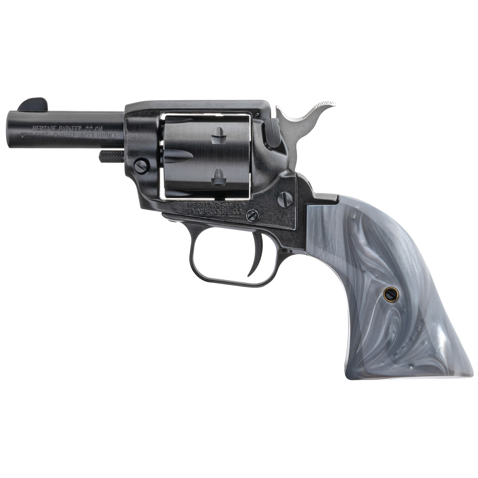 Heritage RoughRider BarKeep, 22lr, 2'' barrel, 6 rounds, Gray Pearl Grip