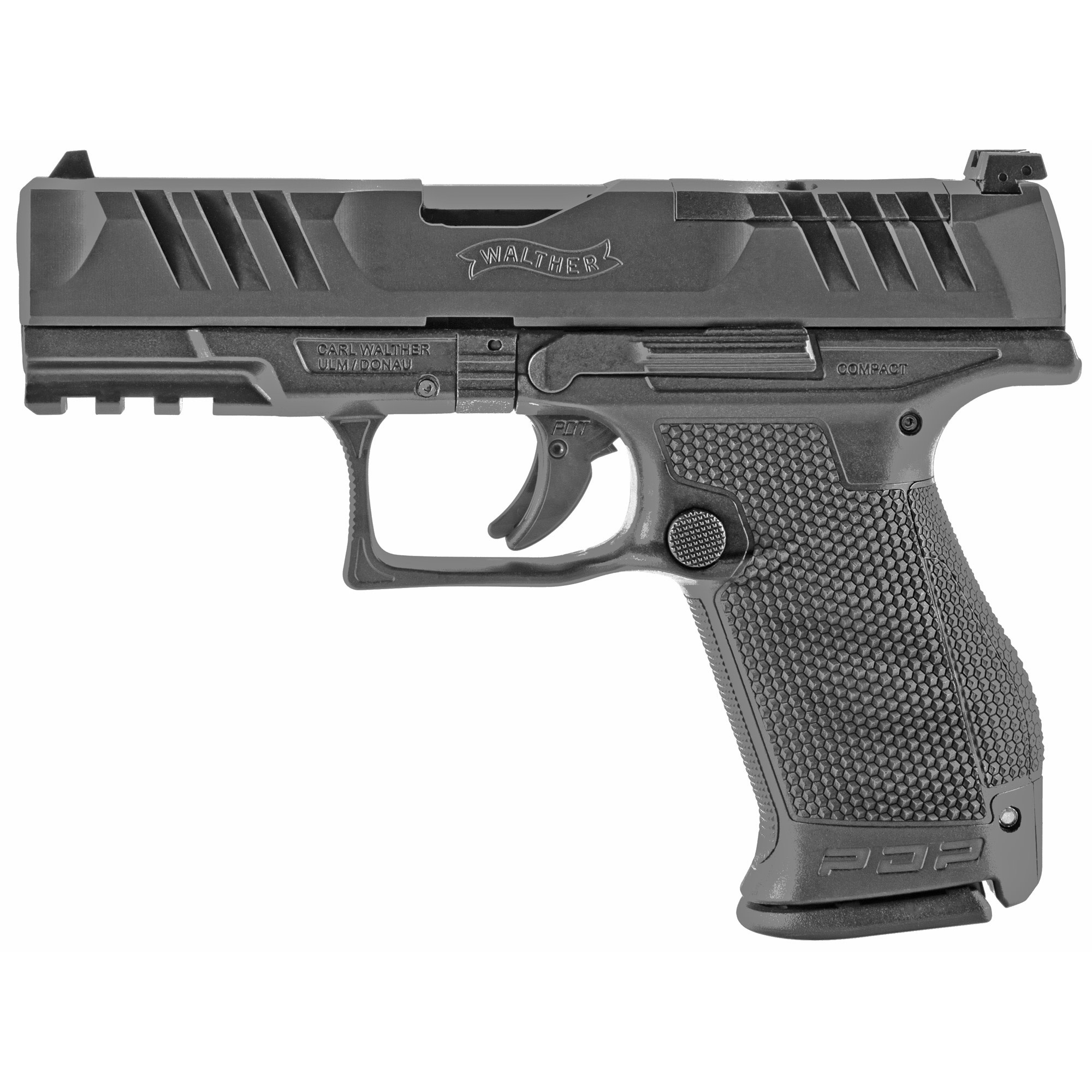 Walther PDP Compact, 9mm, 4'' Barrel, Optics Ready, Black Polymer, 15-rd