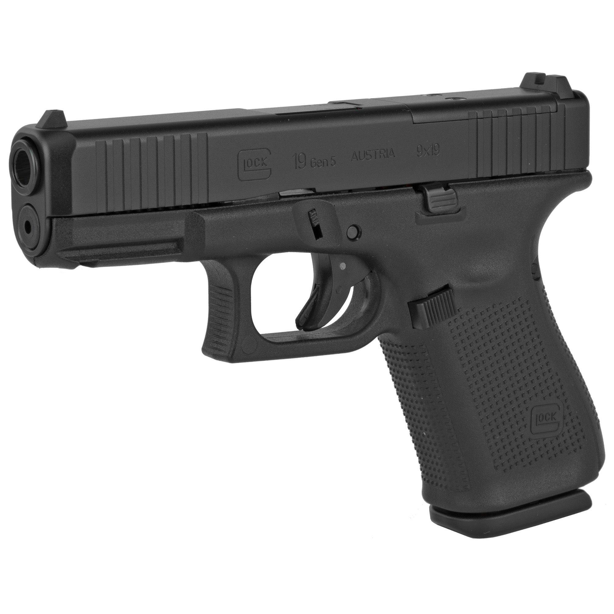 Glock, 19 Gen 5 MOS, Compact, 9MM, 15Rd, 3 Magazines, Front Serrations