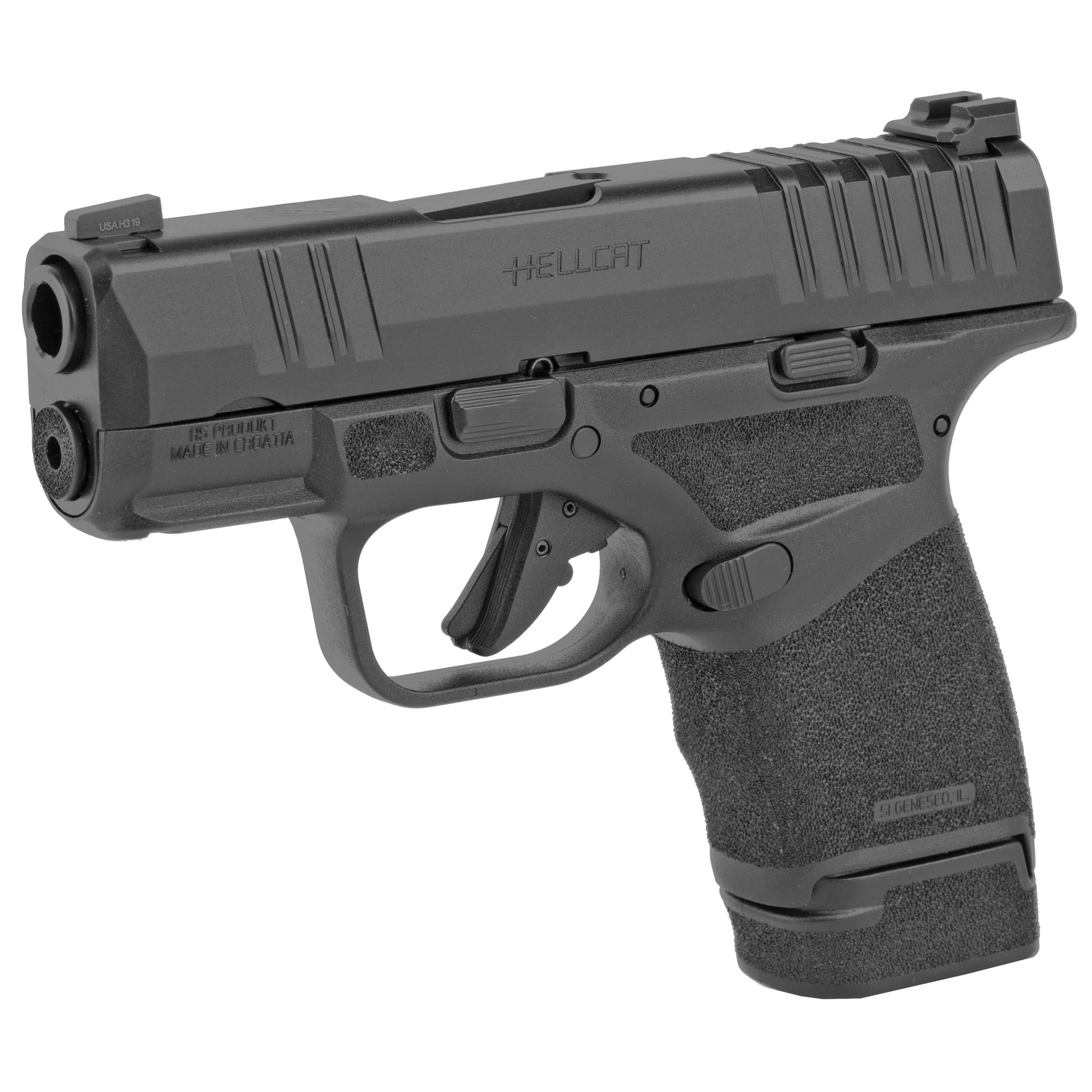 Springfield Armory HC9319B Hellcat 9mm Luger 3'' 11+1 Black Melonite Steel Slide Adaptive Texture Grip