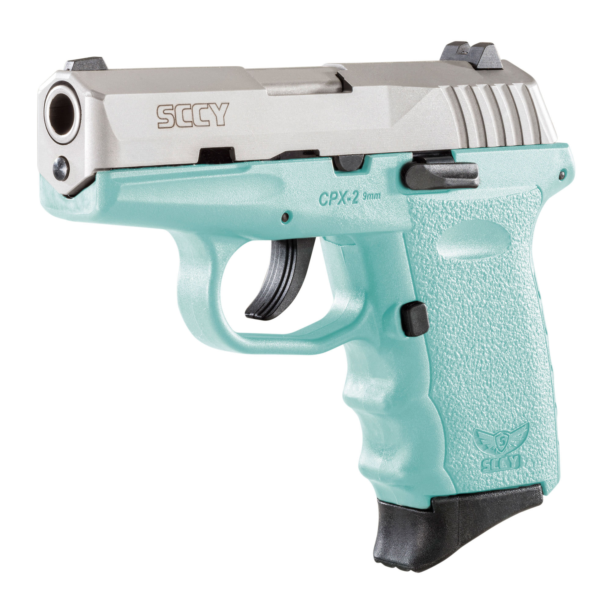 SCCY, CPX-2, Compact, 9mm, robin egg blue w/silver slide10 rd, 2 Magazines