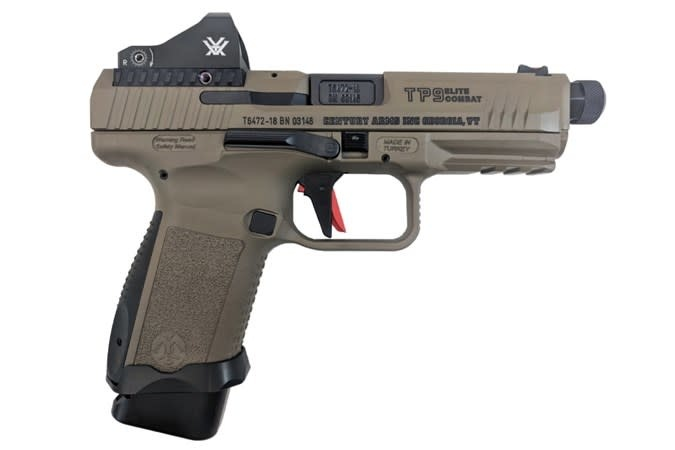 "Canik TP9SF Combat Elite, 9mm, 4.78"" Threaded, Speed Funnel Mag Well, Flat Dark Earth Finish, Fiber Optic Front Sight, Vortex Viper Red Dot, Optics Ready Slide with Adapter Plates, Charging Handle, Includes Holster & 2 Magazines (1-15Rd and 1-18R"