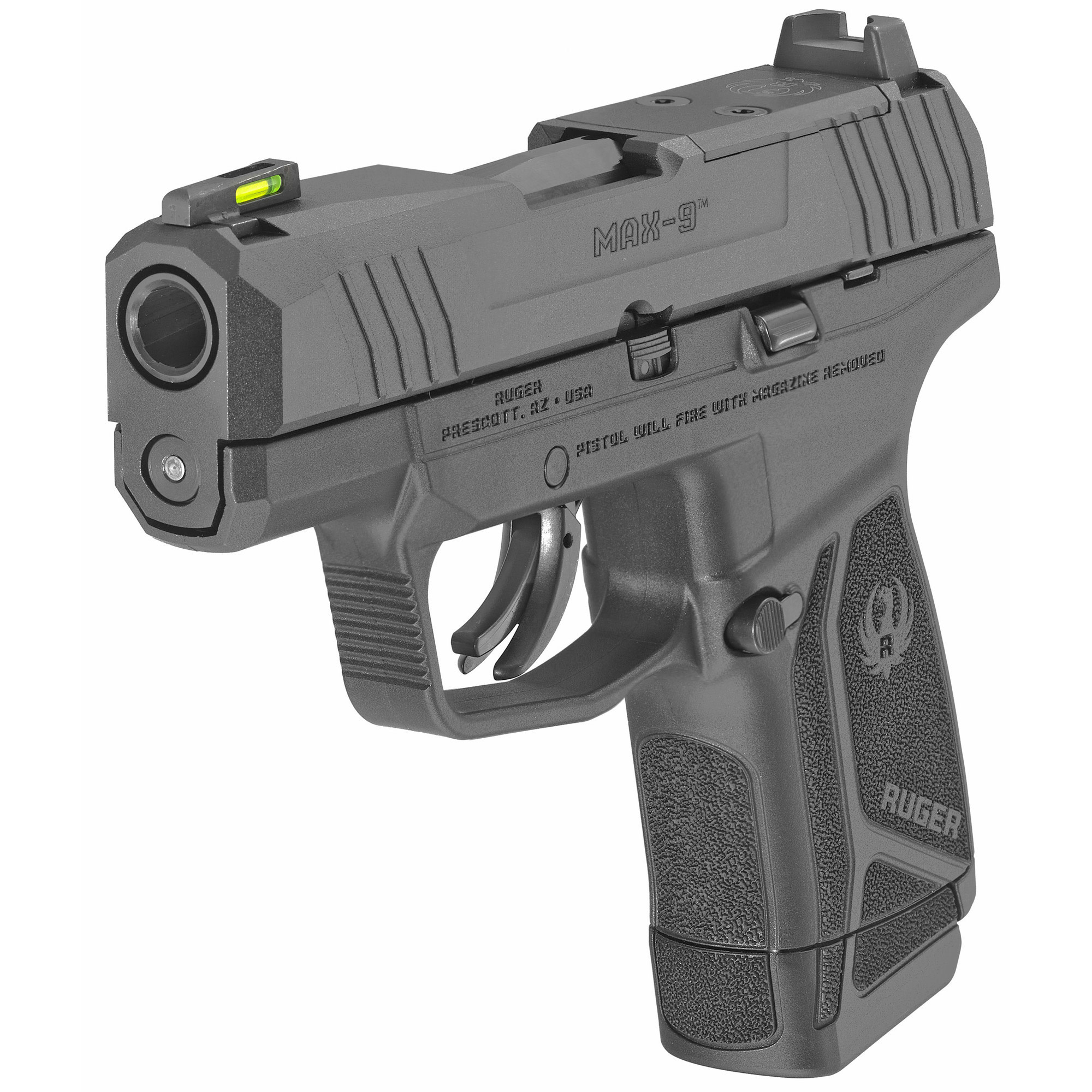 """Ruger MAX-9, 9mm, 3.2"""", Black Oxide, Optic Ready, Front TFO Night Sight, 12Rd"""