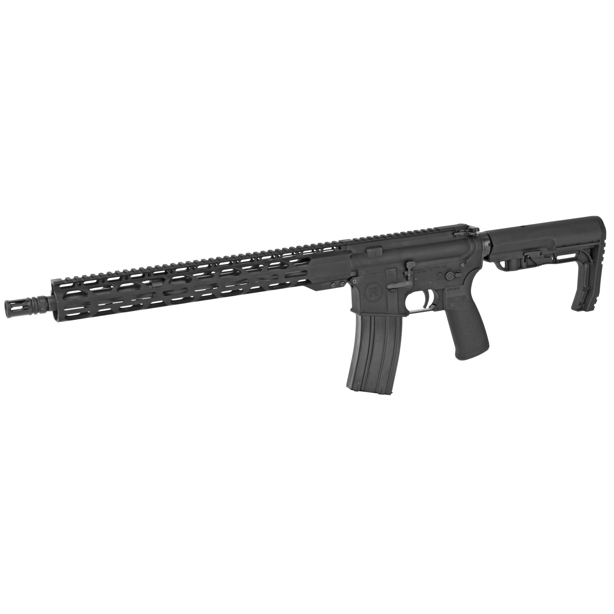 "Radical Firearms, Forged Milspec, 223/556, 16"" SOCOM Barrel, Black, MFT Minimalist Stock, 1 Magazine, 30Rd, 15"" MLOK Handguard"