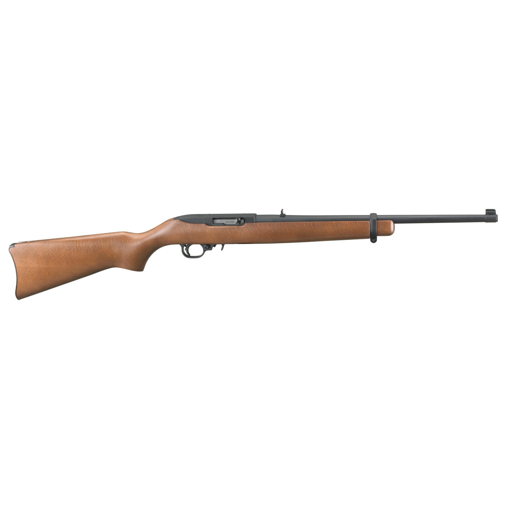 "Ruger, 10/22 Carbine, 22 LR, 18.5"", Black Steel, Hardwood Stock, Adjustable Rear and Gold Bead Front Sight, 10Rd"