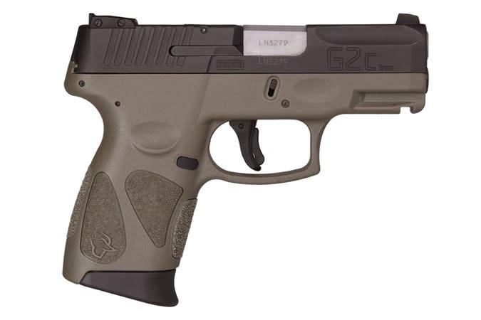 "Taurus G2C, 9mm, OD green frame, 3.2"", 12+1"