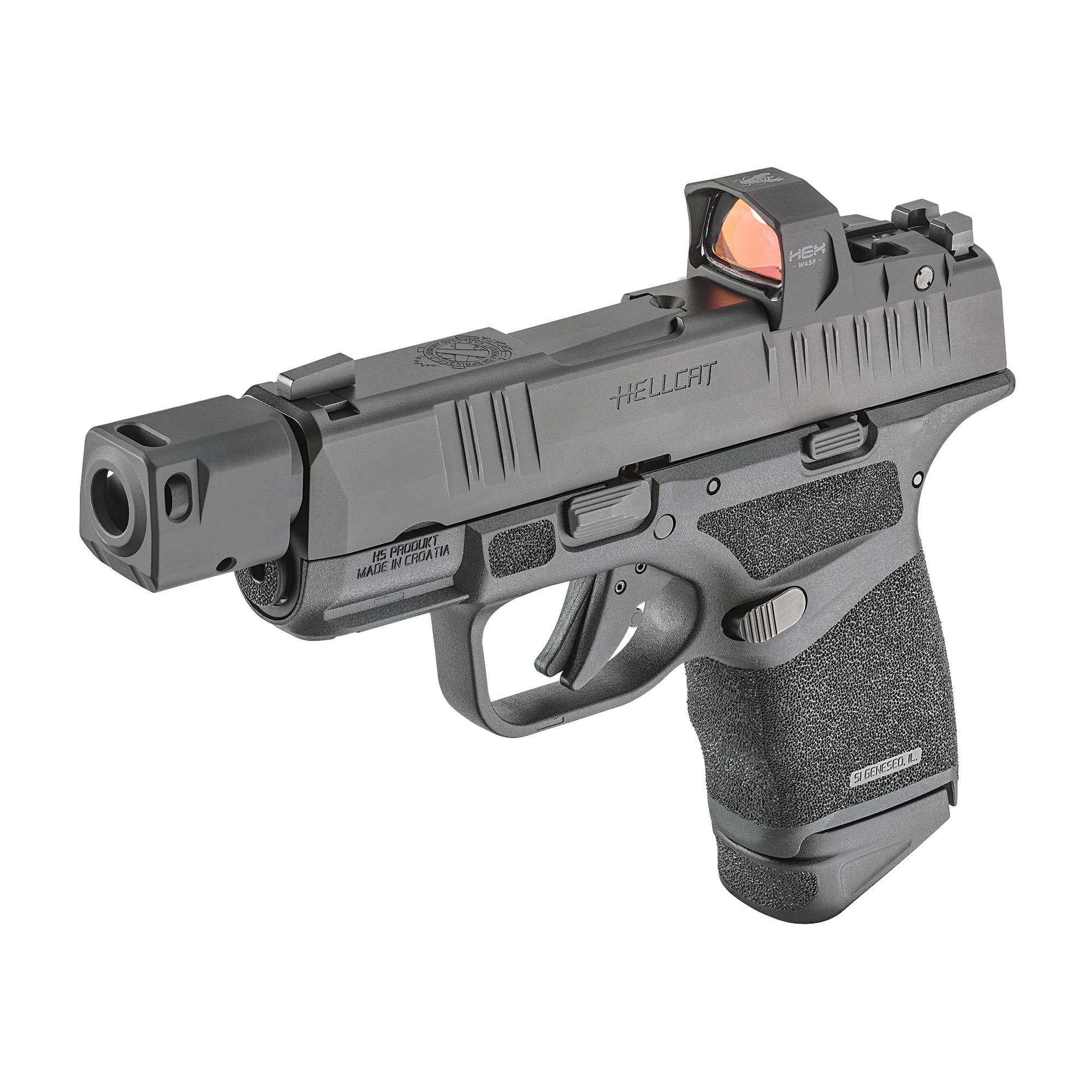 "Springfield Hellcat RDP, Optics Ready, 9mm, 3.8"" Barrel w/ Compensator, Night Sights, 2 Mags, 13Rd, Black, Includes HEX Wasp Red Dot"