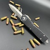 Microtech COMBAT TROODON, Black Frame, Blade: Double Edge, Satin, Full Serrated