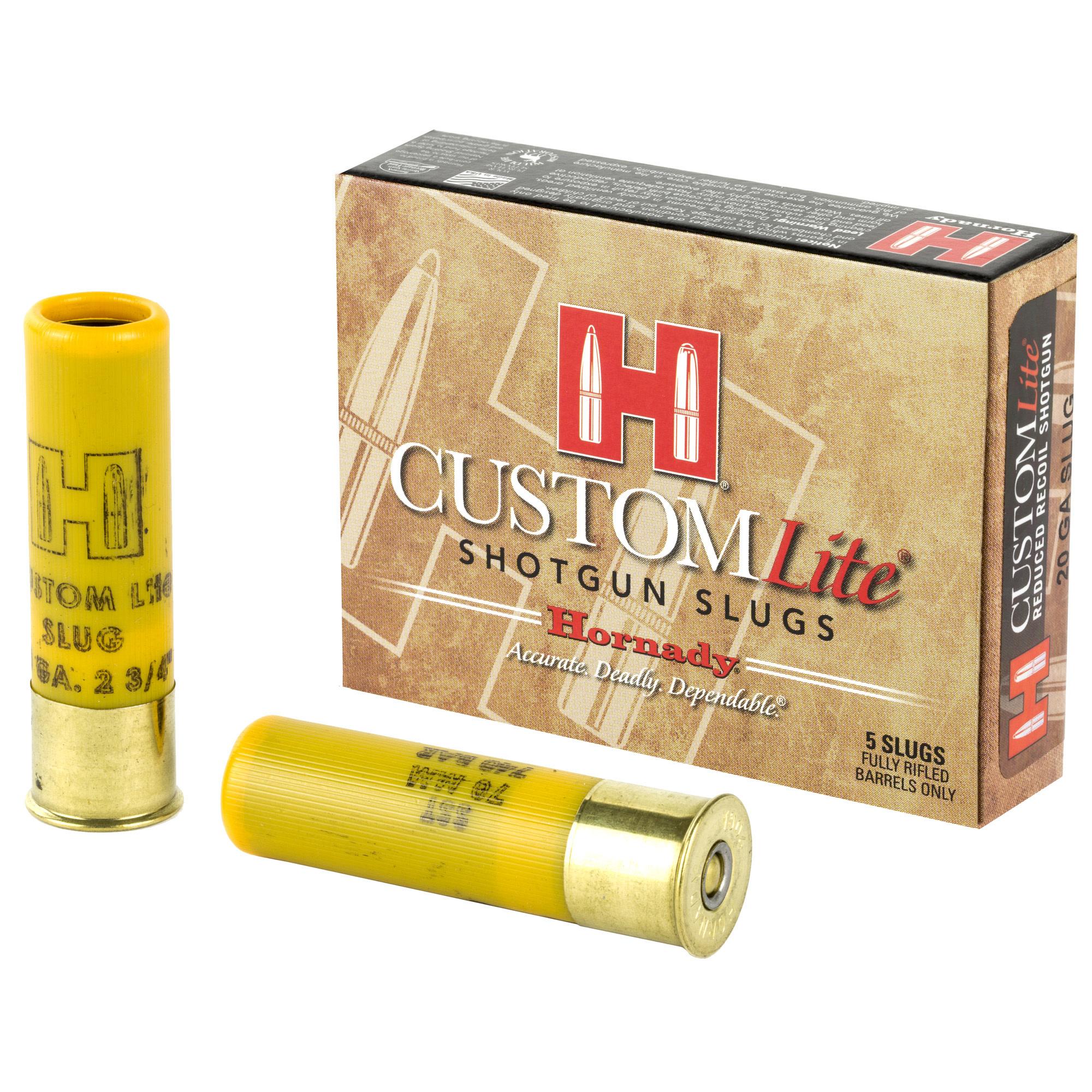 Ammo, Hornaday LITE 20GA slug, 250 FTX, 5 rounds