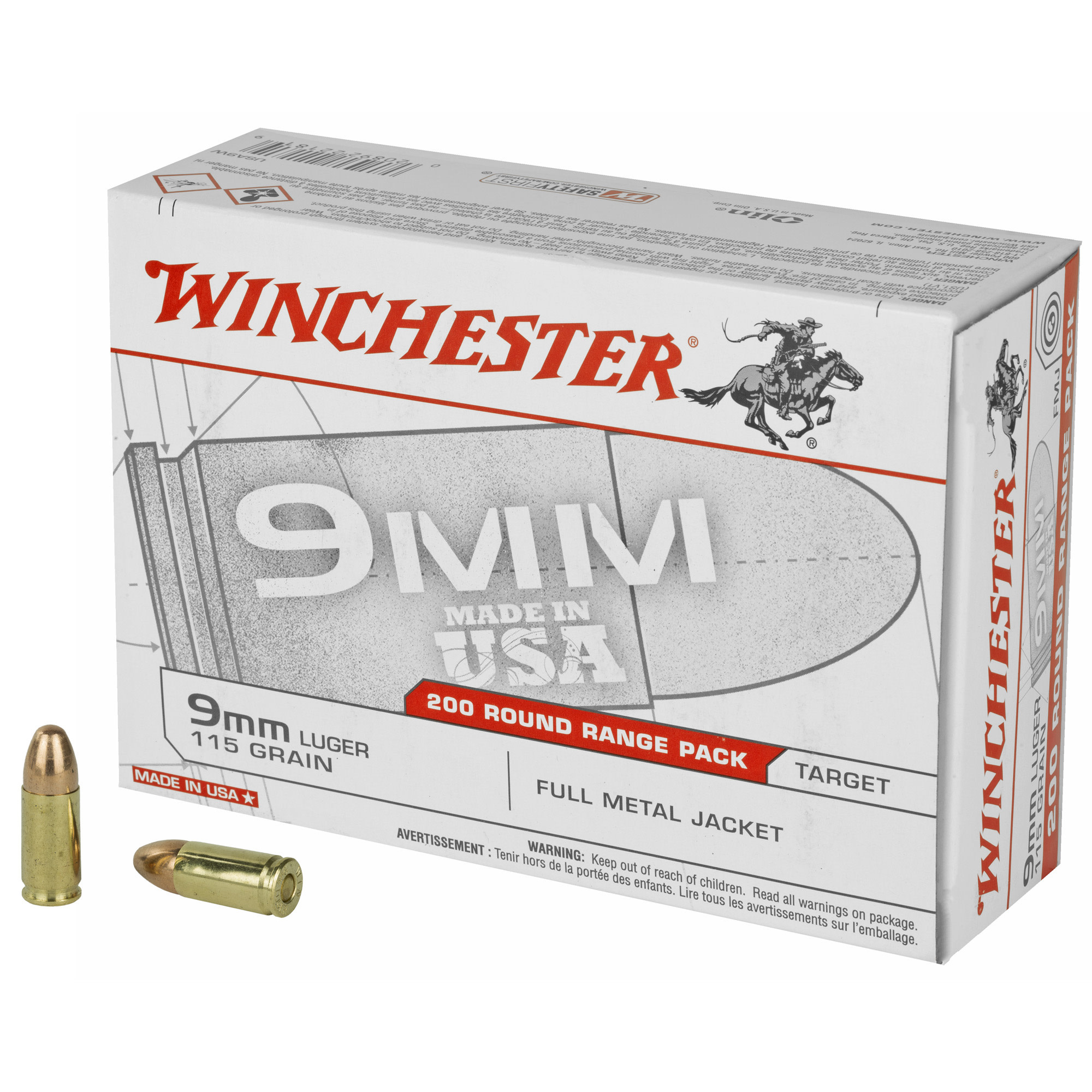 Ammo, Winchester Ammo USA 9mm Luger 115 gr Full Metal Jacket (FMJ) 200 Bx