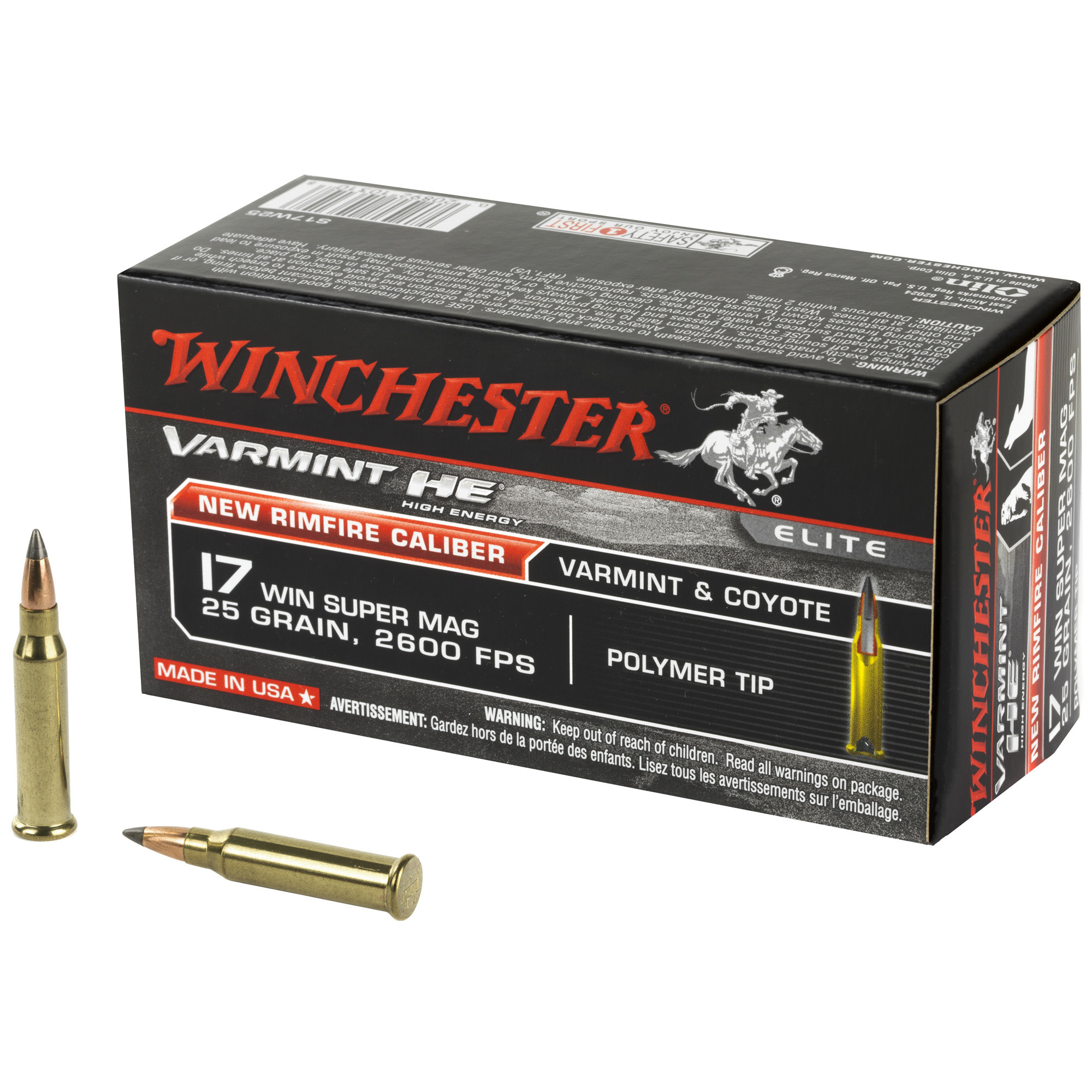 Ammo, Winchester Ammo Varmint HE 17 WSM 25 gr Polymer Tip 50 Bx