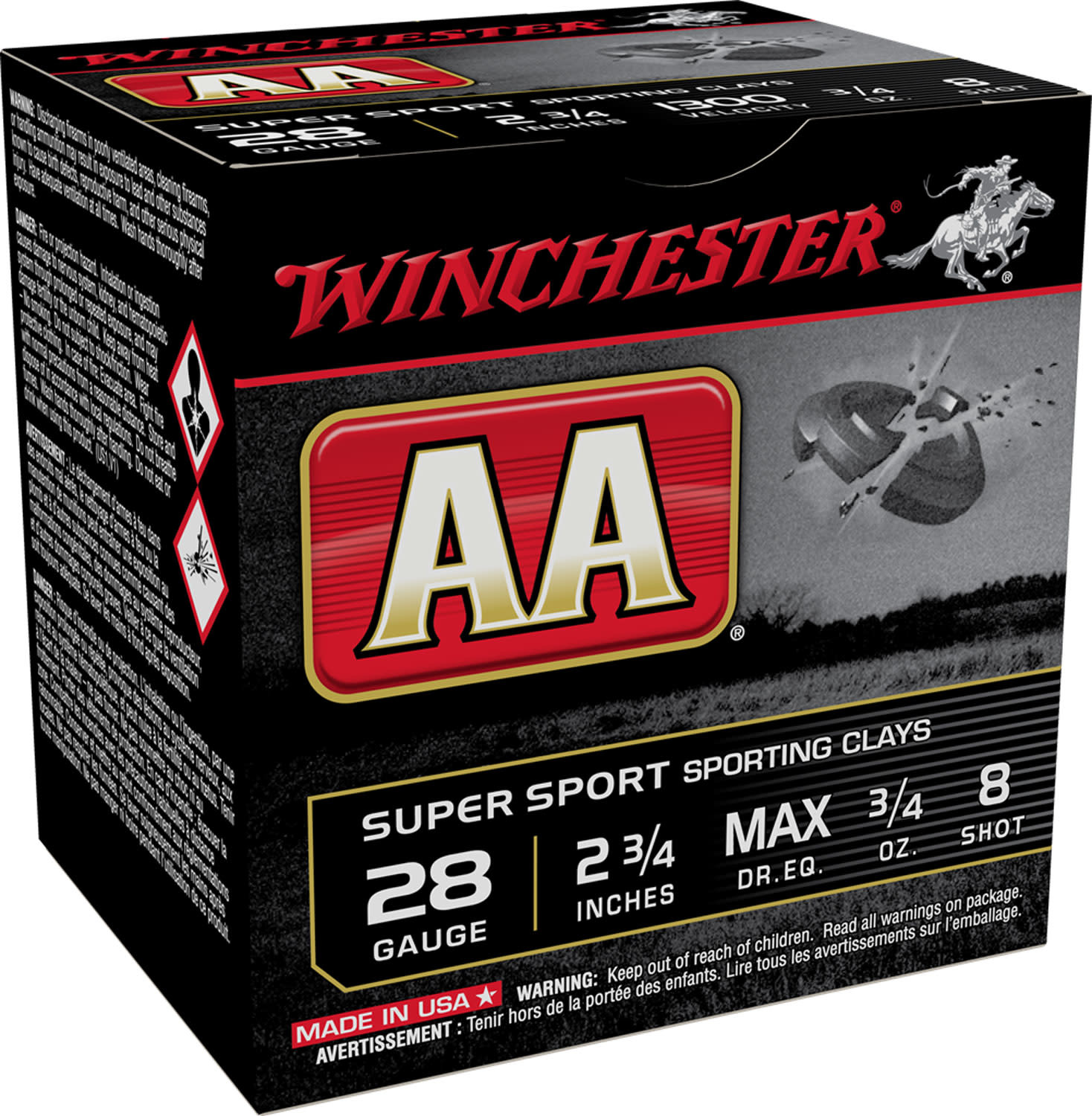 Ammo, Winchester Ammunition, AA Sporting Clay, 28 Gauge, 2.75'', #8, 25 Round Box (Not for Range Use)