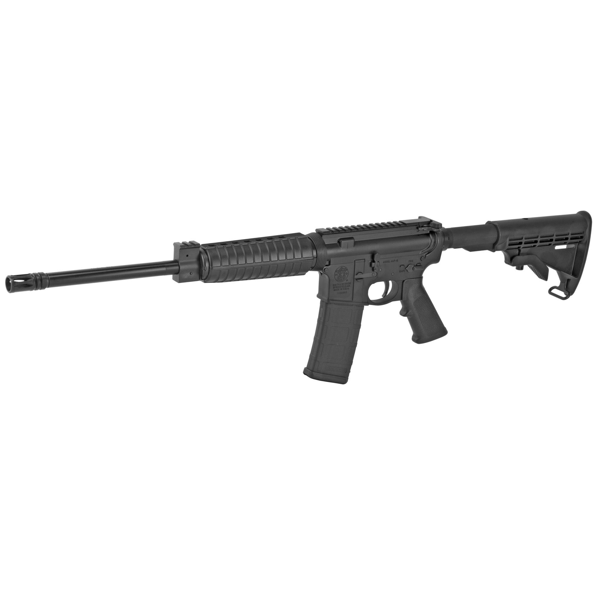 Smith & Wesson, M&P 15, Sport II, Optics Ready, Semi-automatic, AR, 556NATO, 16'' Barrel, Black Finish, Black Collapsible Stock, 1 Mag, 30Rd, Flattop