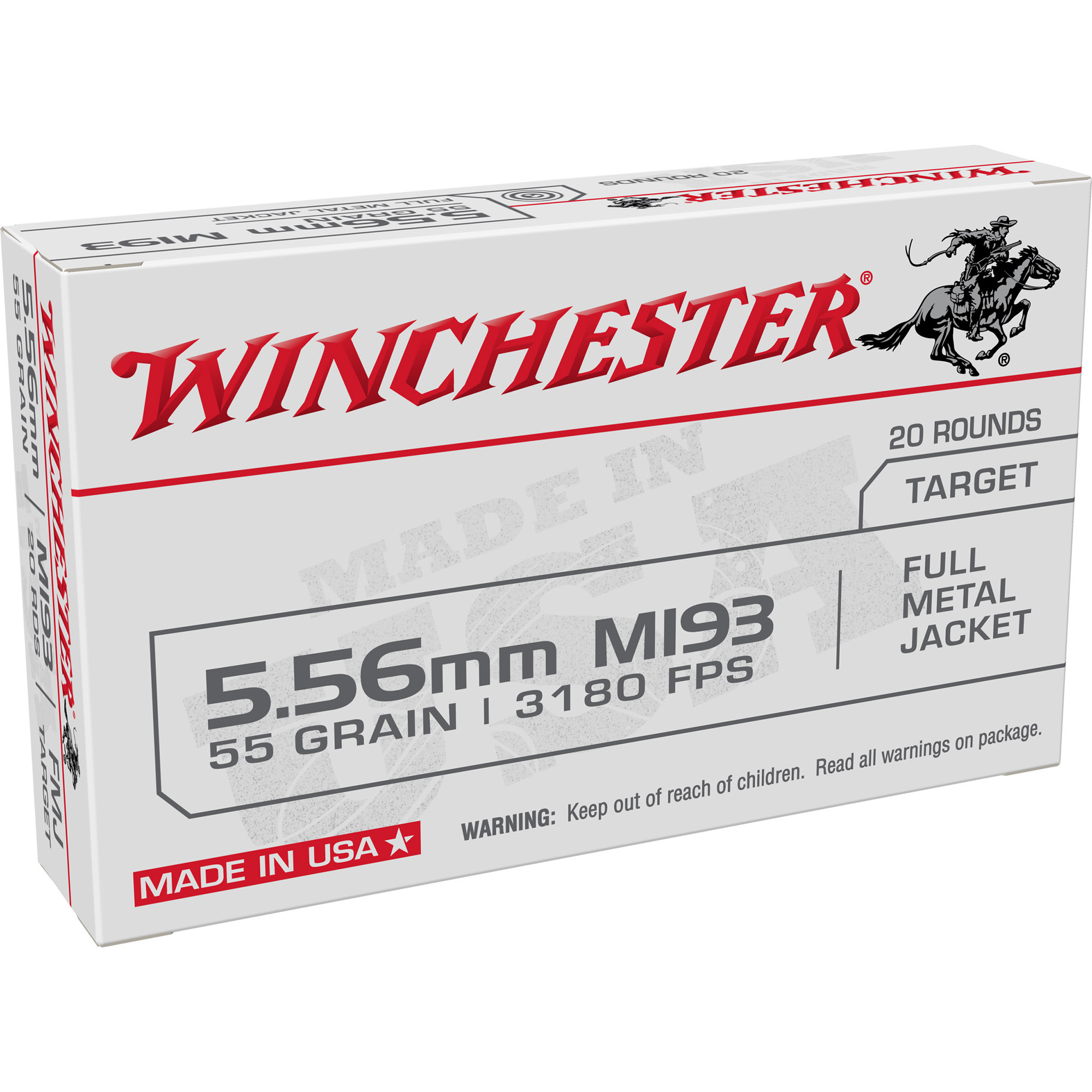 Ammo, Winchester K LC 5.56, 55 gr, FMJ, 20rd