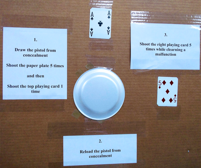 11 shot concealment drill, a paper plate and 2 playing cards on a cardboard backer