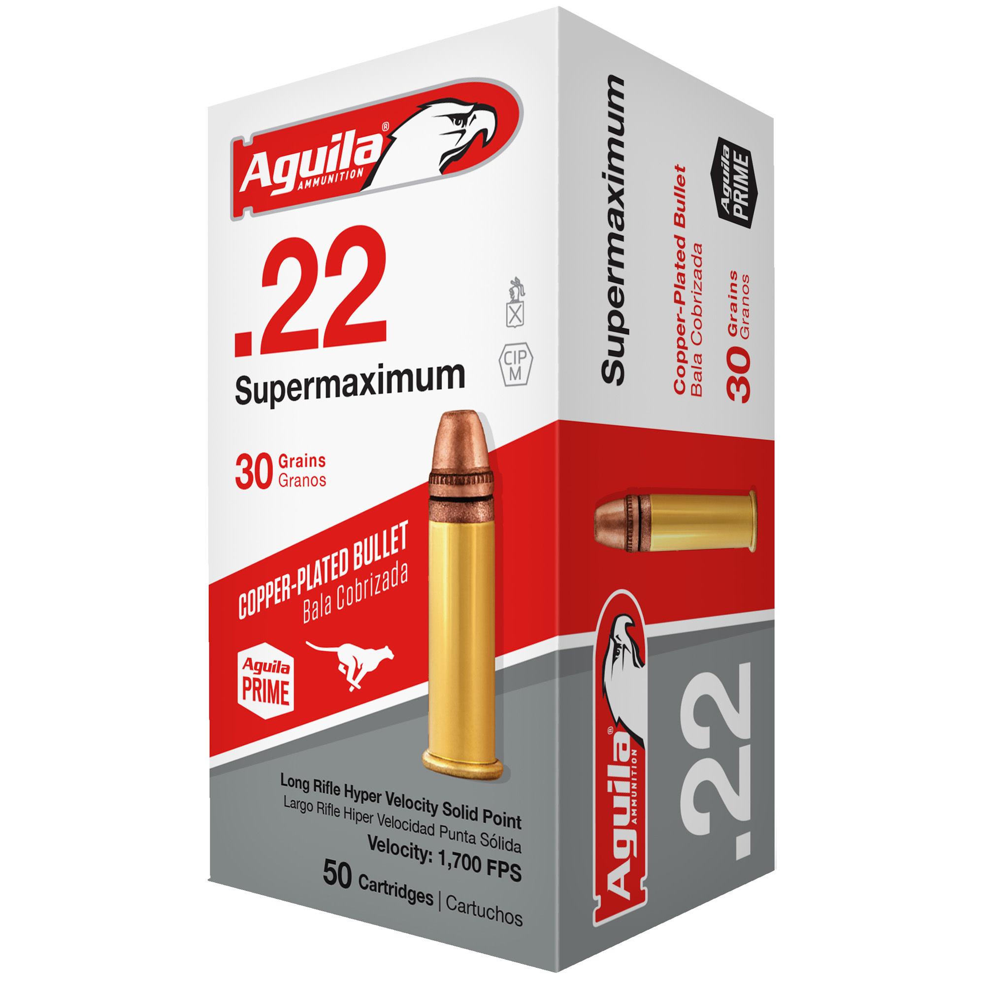 Ammo, Aguila, 22LR SuperMaxium Hyper Velocity, FMJ, 30 gr, 50 rd (Only for rifles)