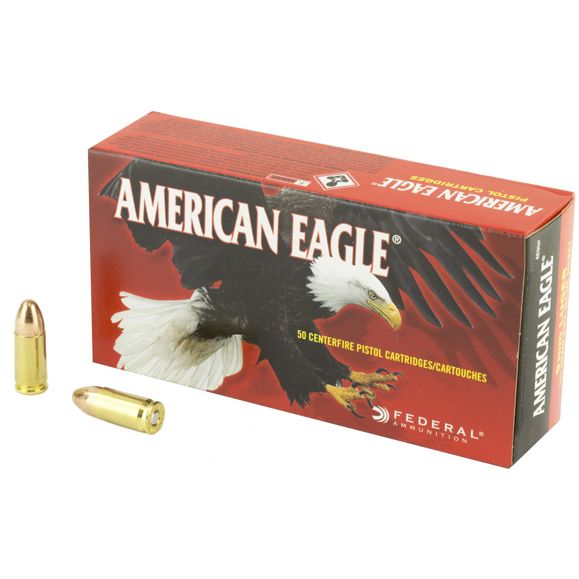 Ammo, American Eagle 9mm, 115 gr, 50 rd