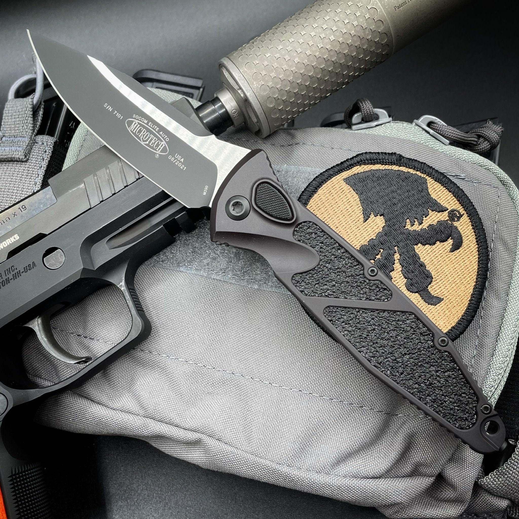 Microtech SOCOM ELITE Auto, tactical black, blade - single edge, black