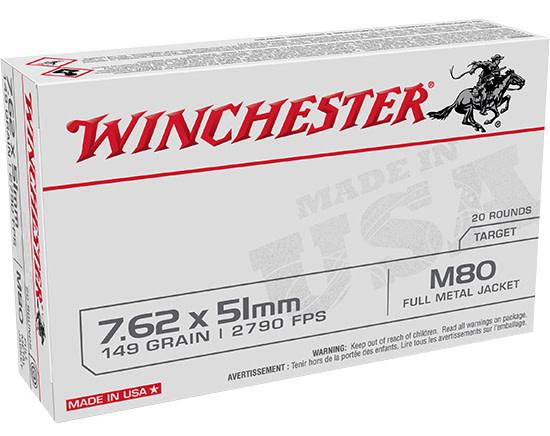 Ammo, Winchester WM80 USA 7.62x51mm NATO 149 gr Full Metal Jacket (FMJ) 20 Bx