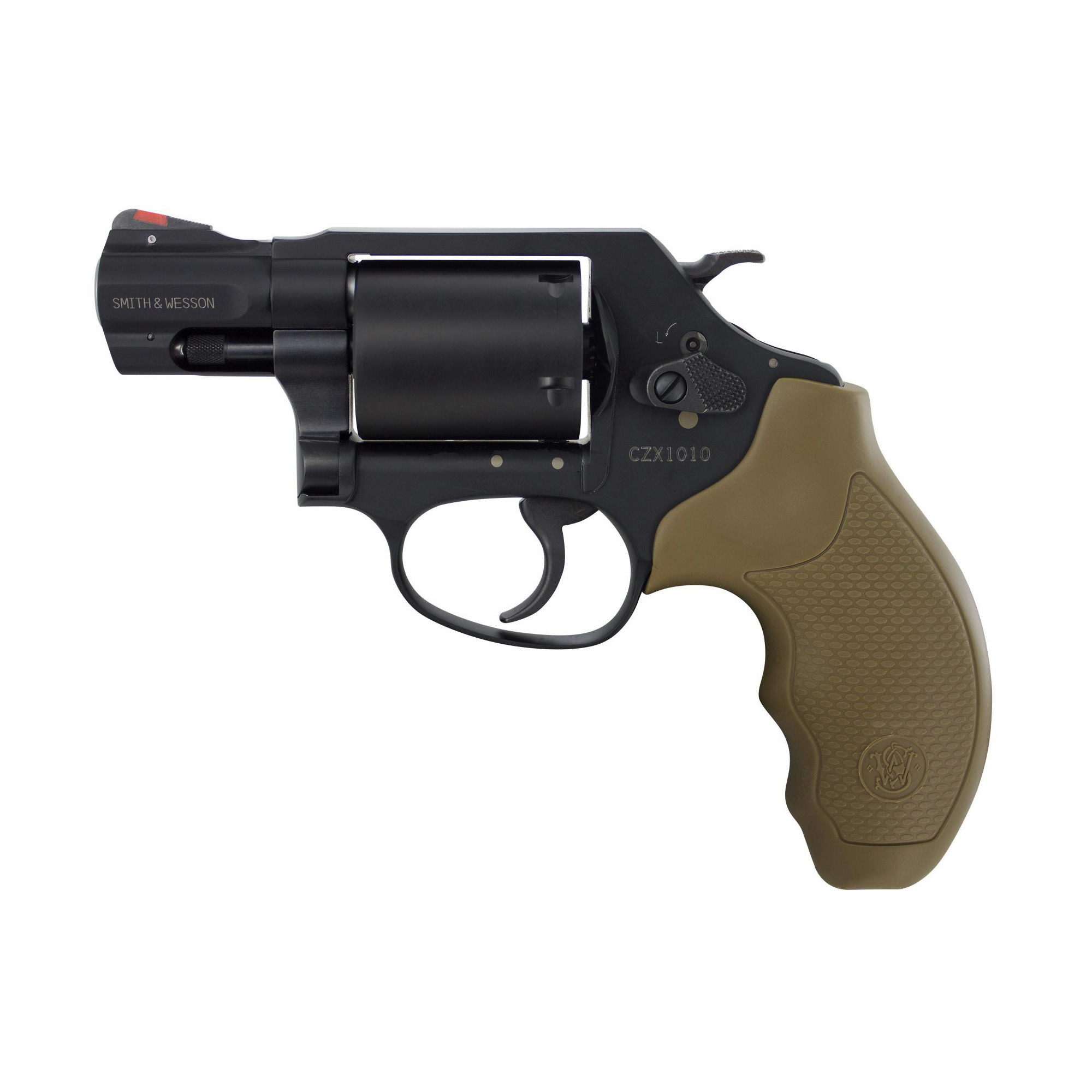 """Smith & Wesson, Model 360J, 357 Magnum, 1.875"""", Scandium, PVD Black Finish, FDE Grip, 5Rd, Unfluted Cylinder, Red Ramp Front Sight"""