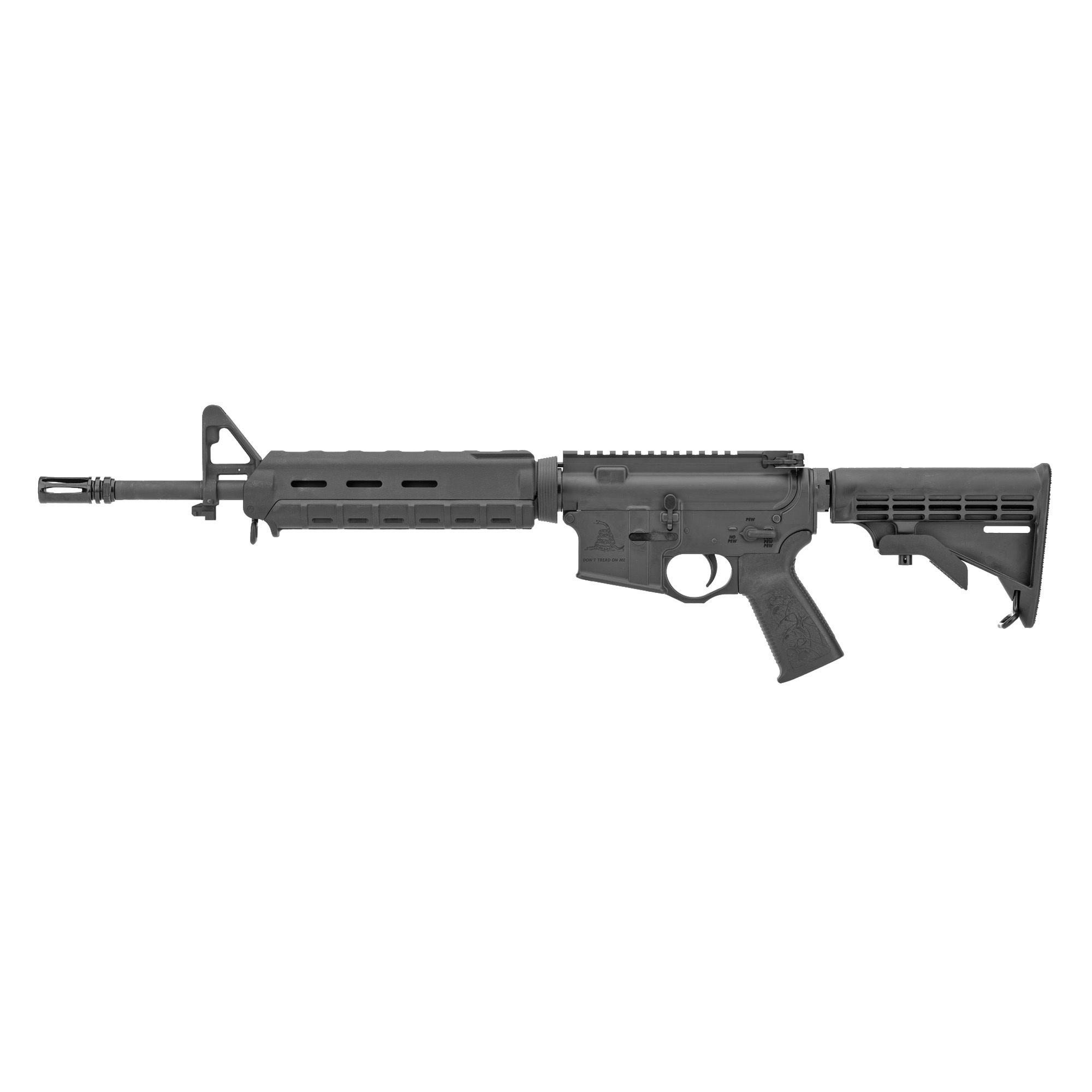 "Spike's Tactical Gadsden AR-15, 556/223, 14.5""(16"" OAL With Pinned Flash Hider), Mid-length Gas System, Cerakote Black, Black MOE Handguard, No Mag"