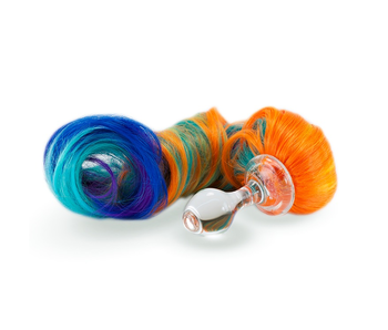 Crystal Delights Minx Faux Tail Short Stem Small Plug (Rainbow Pony)