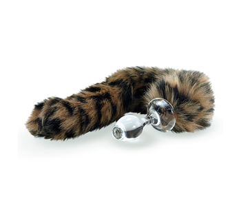 Crystal Delights Minx Faux Tail Short Stem Small Plug (Leopard)