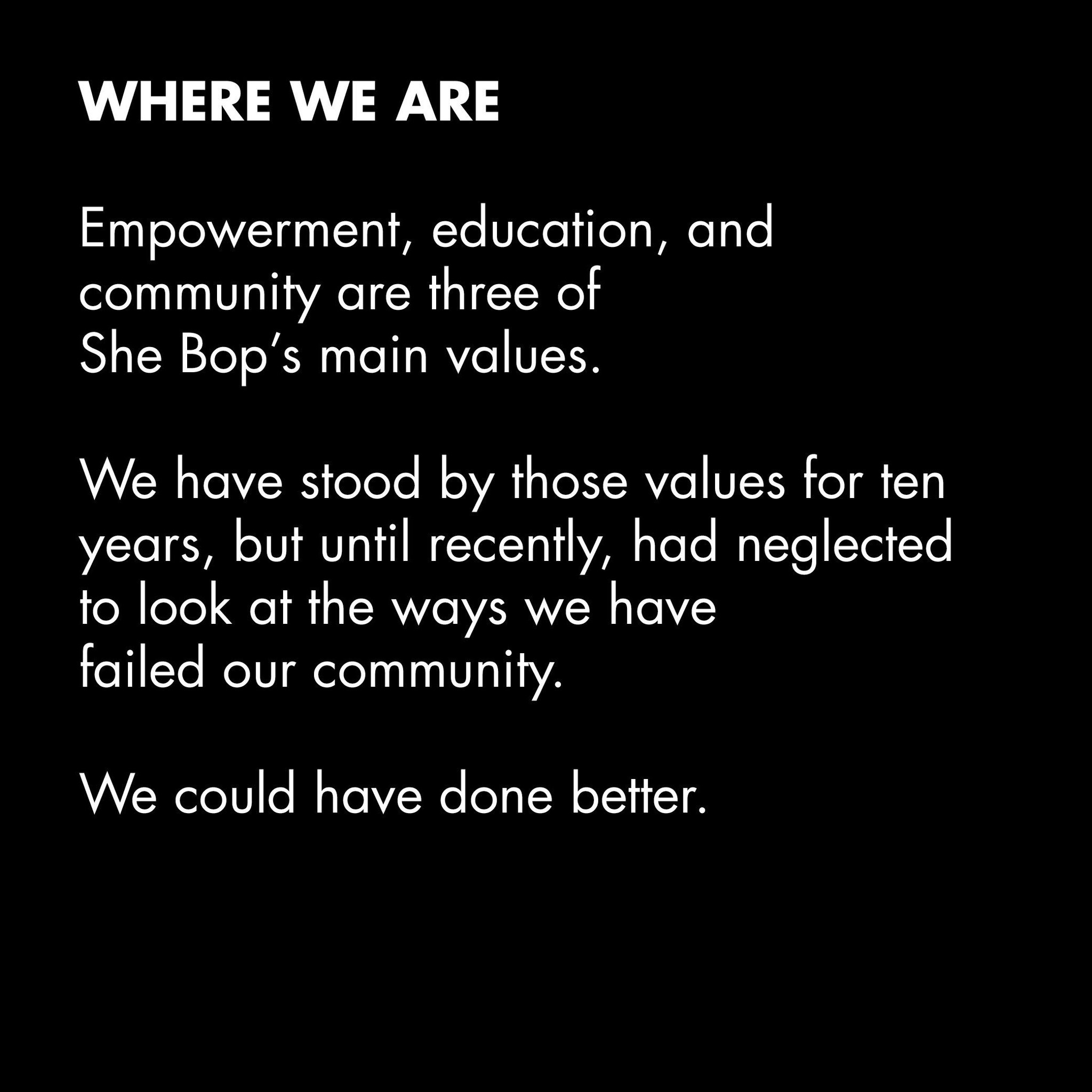 Our pledge to do better