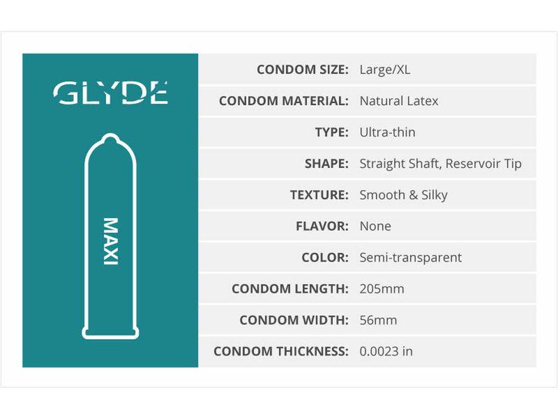 Glyde Maxi Large Condoms (12 pack)