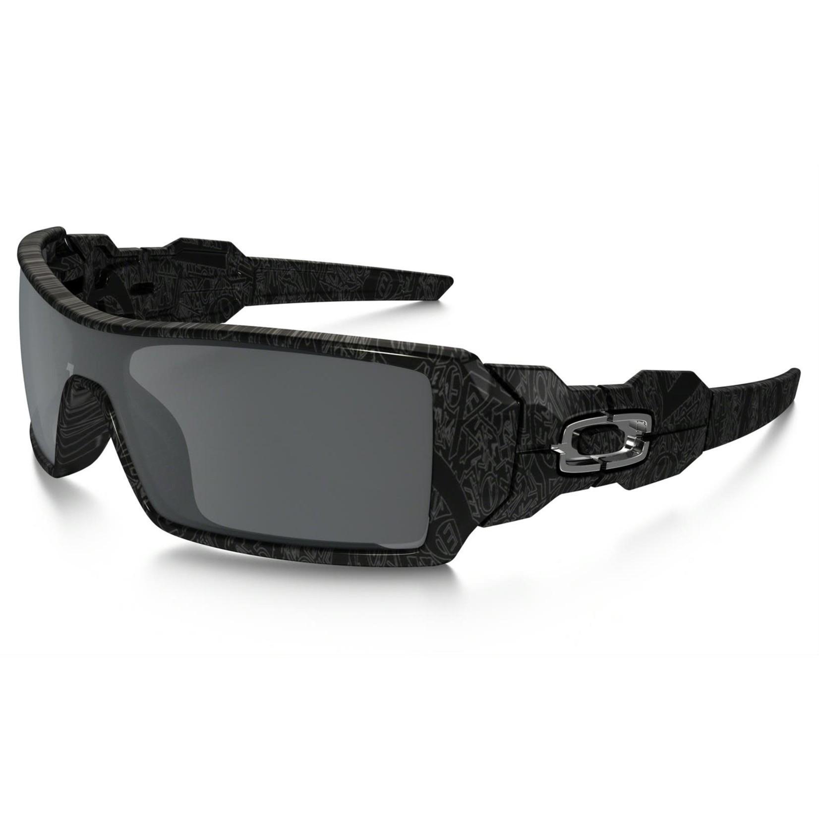 Oakley Oakley Sunglasses, Oil Rig, Polished Blk w/ Slv Ghost Text, Blk Iridium