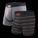 Saxx Saxx Underwear, Vibe Boxer, 2-Pack, Mens, GSS-Gry/Shallow Stripe