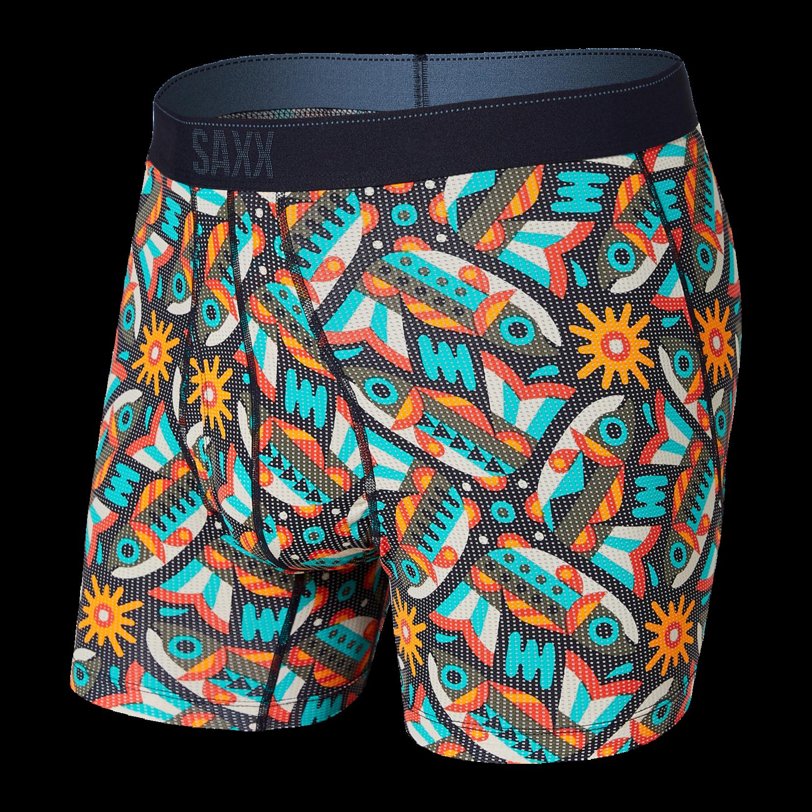 Saxx Saxx Underwear, Quest Boxer Brief Fly, Mens, FAF-Multi Fish Are Fly