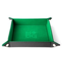 "Metallic Dice Games Dice Tray Velvet Folding Tray with Leather Back  10"" x 10"" Green"