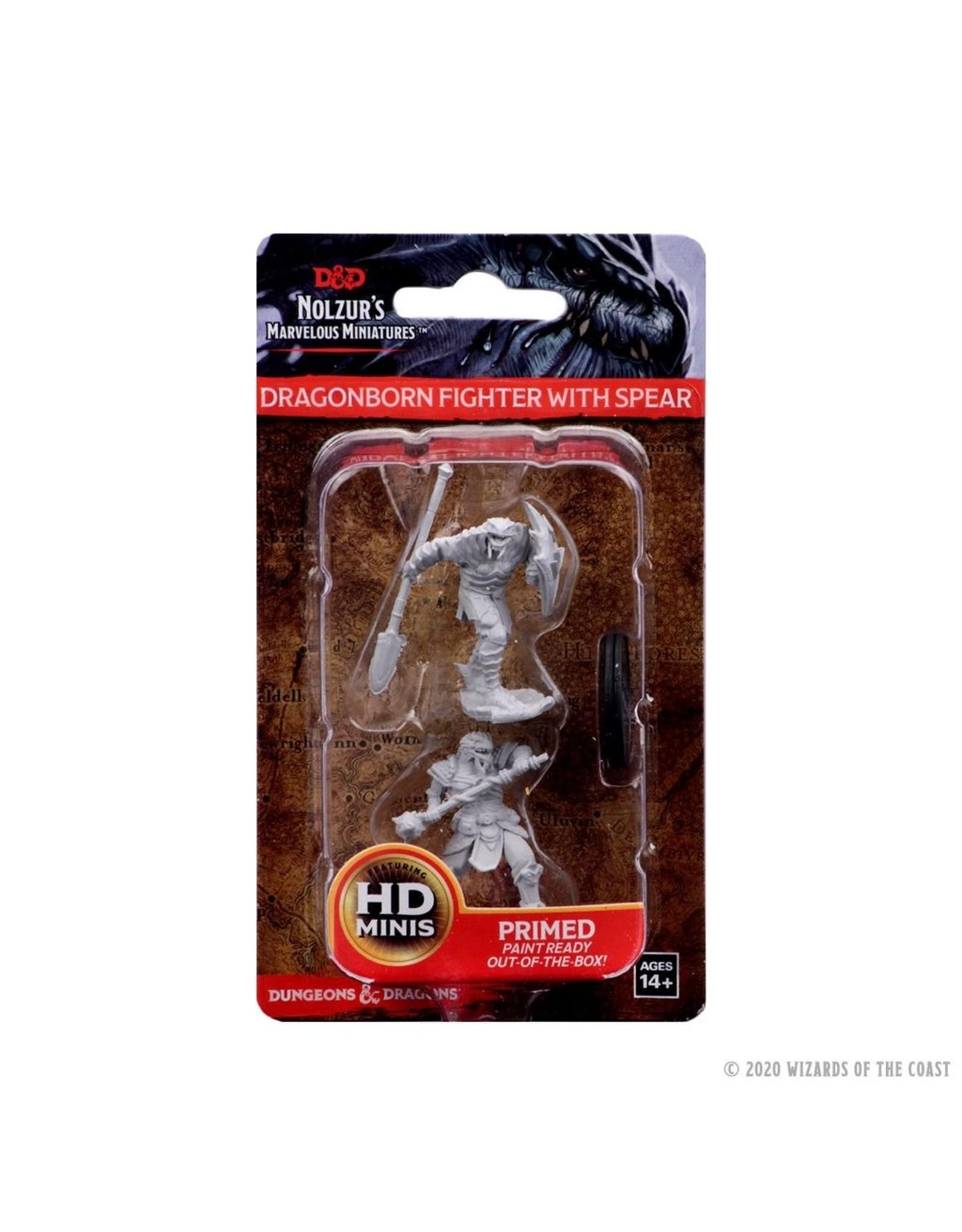 WizKids D&D Unpainted Miniature Dragonborn Fighter With Spear