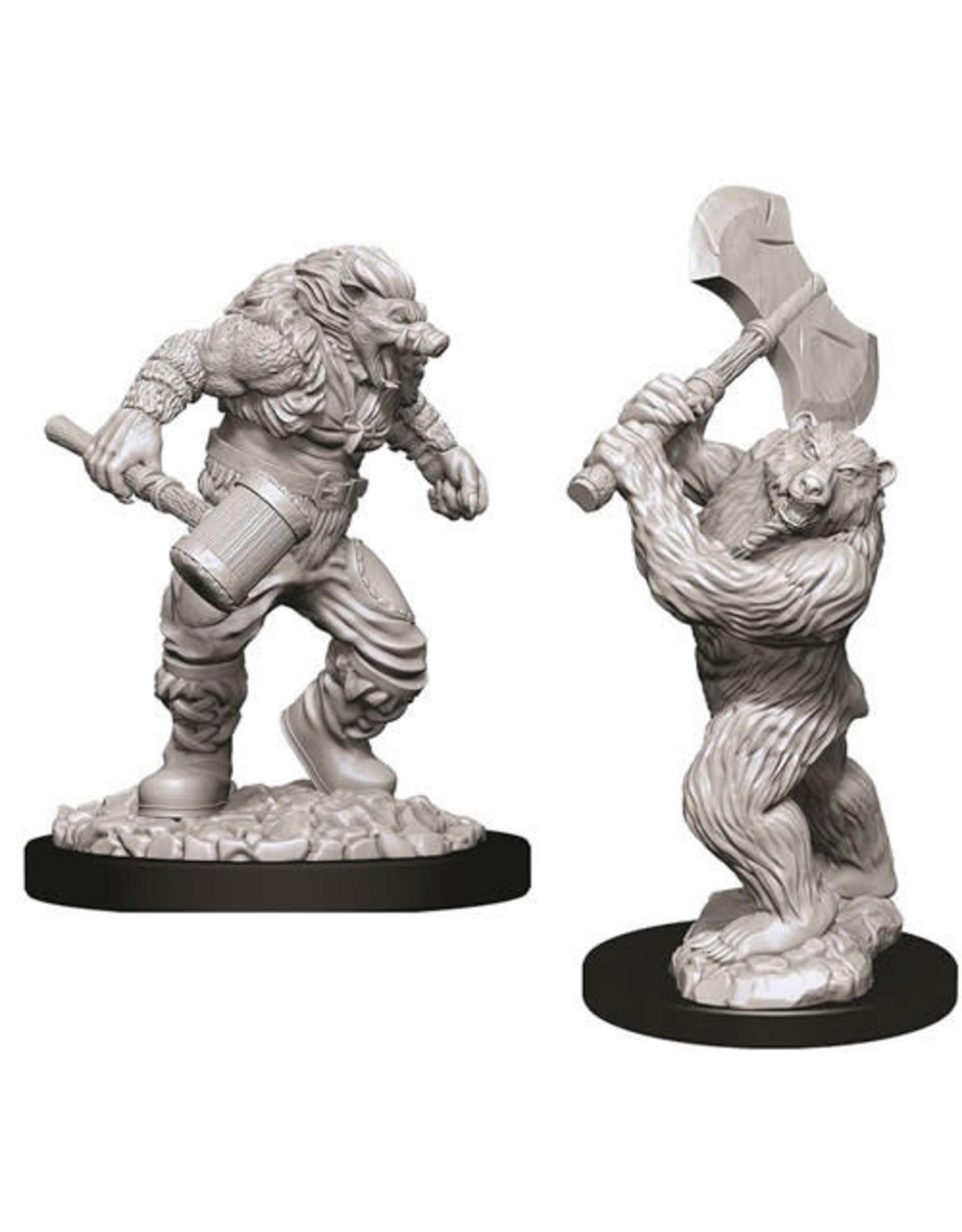 WizKids D&D Unpainted Miniature Wereboar & Werebear