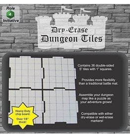 Role 4 Initiative Dry Erase Dungeon Tiles - Pack of Thirty-Six 5' Interlocking Tiles