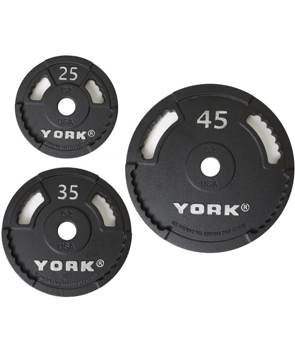 York G2 Cast Iron Olympic Weight Set, 210lbs