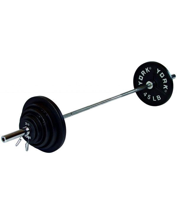 York Deep Dish Cast Iron Olympic Weight Set, 300 lbs